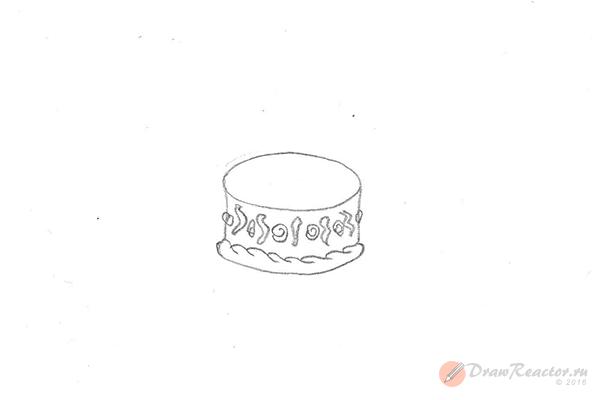 Рисунок торта со свечами. Шаг 3.