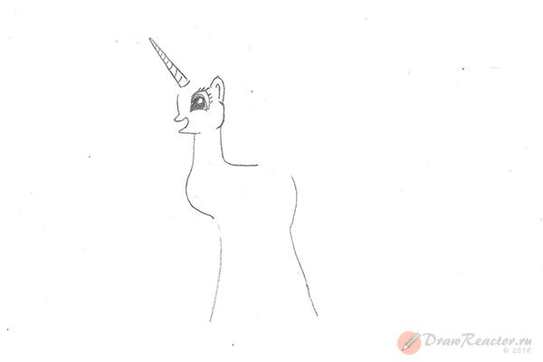 Рисунок пони Селестия. Шаг 3.
