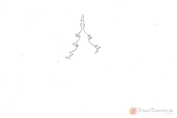 Рисунок елки. Шаг 2.