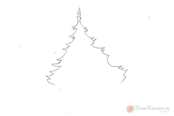 Рисунок елки. Шаг 3.