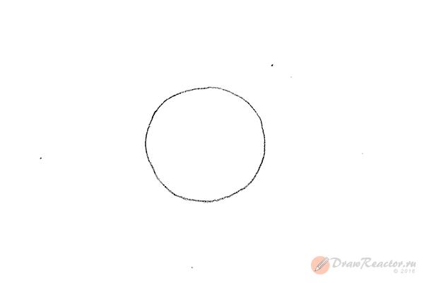 Как нарисовать знак инь янь. Шаг 1.