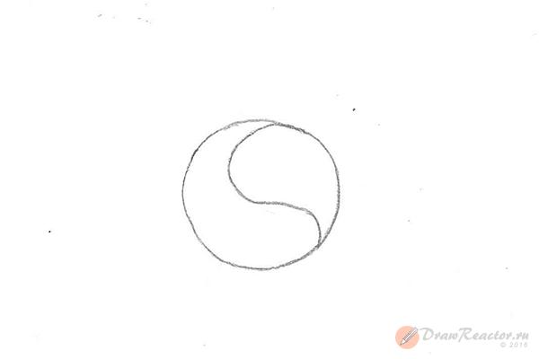 Как нарисовать знак инь янь. Шаг 2.