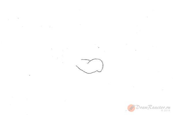 Как нарисовать волка из «Ну, погоди!». Шаг 1.
