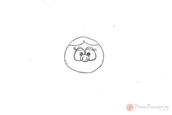 Как рисовать Нюшу из Смешариков. Шаг 3.