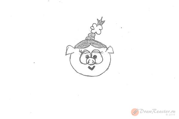 Как рисовать Нюшу из Смешариков. Шаг 4.