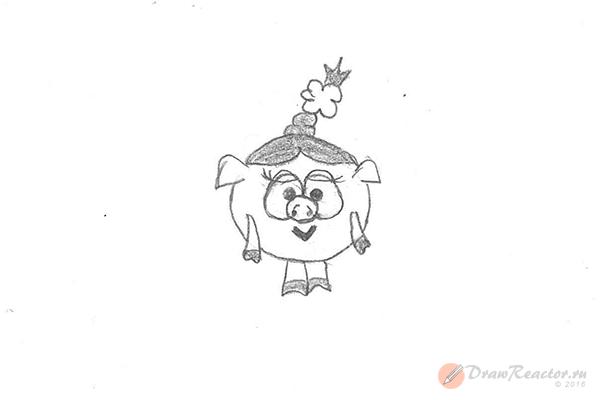 Как рисовать Нюшу из Смешариков. Шаг 5.