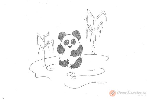 Рисунок панды. Шаг 5.