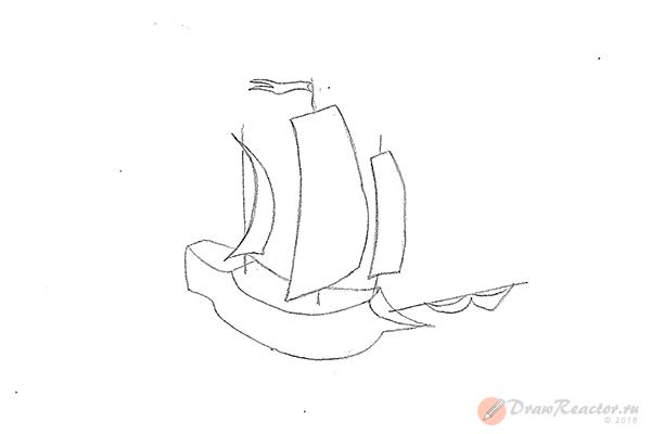 Как нарисовать корабль. Шаг 5.