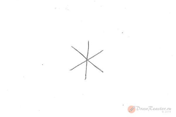 Рисунок снежинки. Шаг 1.