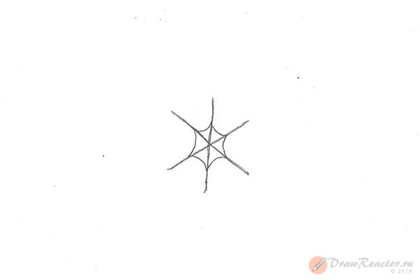 Рисунок снежинки. Шаг 2.