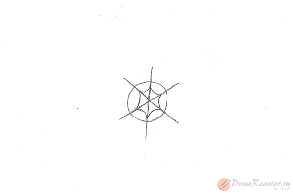 Рисунок снежинки. Шаг 3.