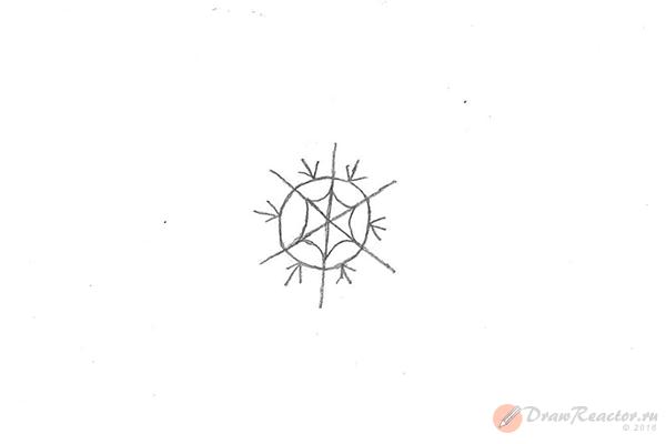 Рисунок снежинки. Шаг 4.