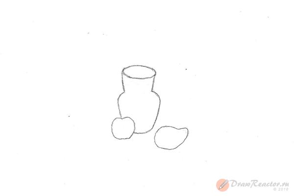 Как рисовать натюрморты карандашом. Шаг 2.