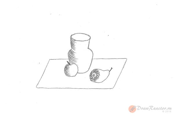 Как рисовать натюрморты карандашом. Шаг 4.