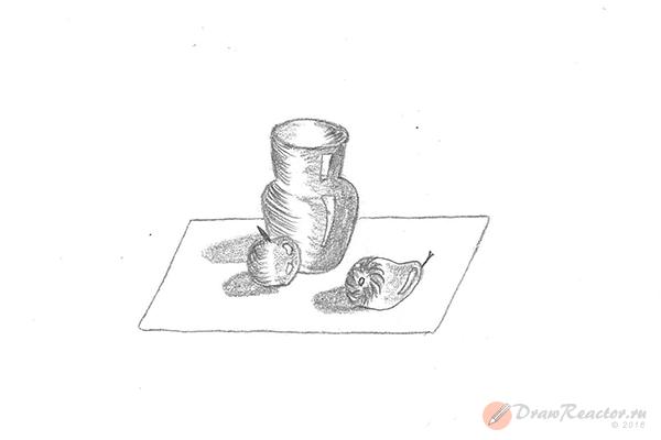 Как рисовать натюрморты карандашом. Шаг 5.