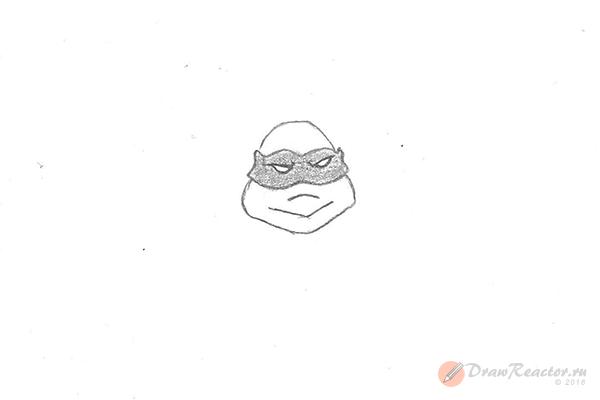 Как нарисовать черепашку-ниндзя. Шаг 4.